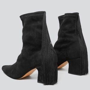Rachel Comey Zaha Fringed Boot in Black Suede- 9.5